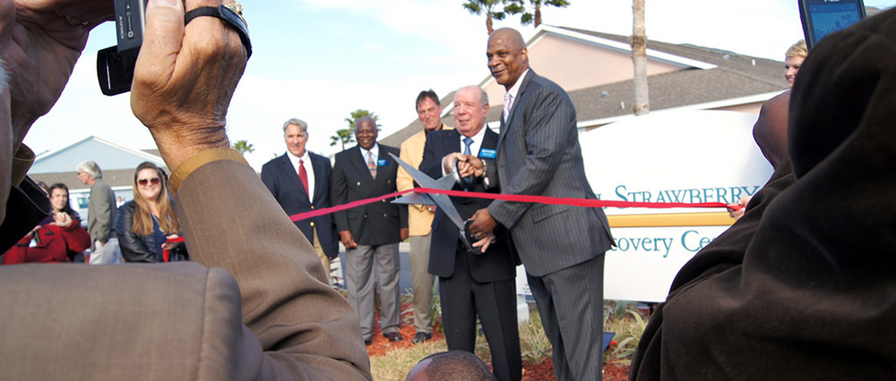 John and Darryl ribbon cutting for Strawberry Recovery Center St. Cloud